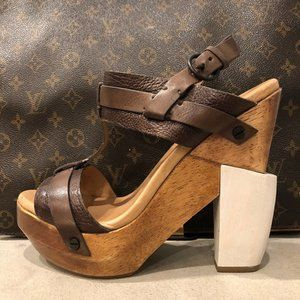 {ALL SAINTS} LEATHER WOOD WEDGE PLATFORM STRAPPY
